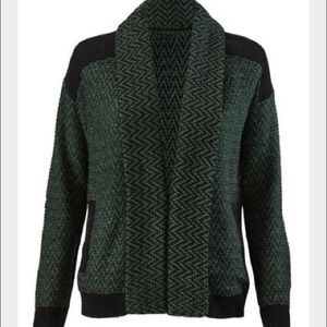 Cabi Fireside Cardigan Chevron Green Open Front